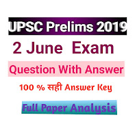 UPSC Civil Services Preliminary Exam 2019 Answer Key / UPSC Prelims 2019 Answer Key