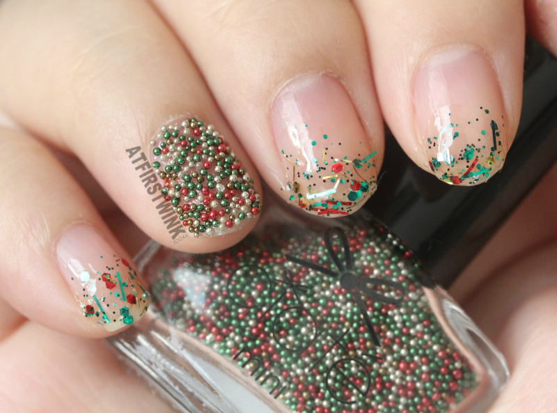 Ciaté caviar pearls christmas tree caviar and Sparkly Christmas three from the Etude House If Story nail kit 3.