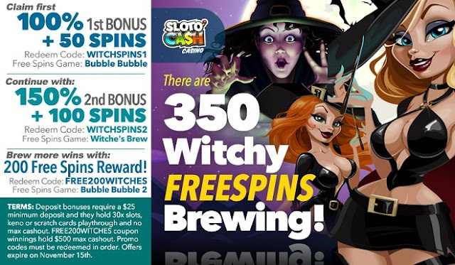 Sloto Cash Casino Bonus pack with 350 Free Spins