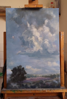 luchten, wolken, luchten schilderen, wolken schilderen, olieverf, De Holterberg