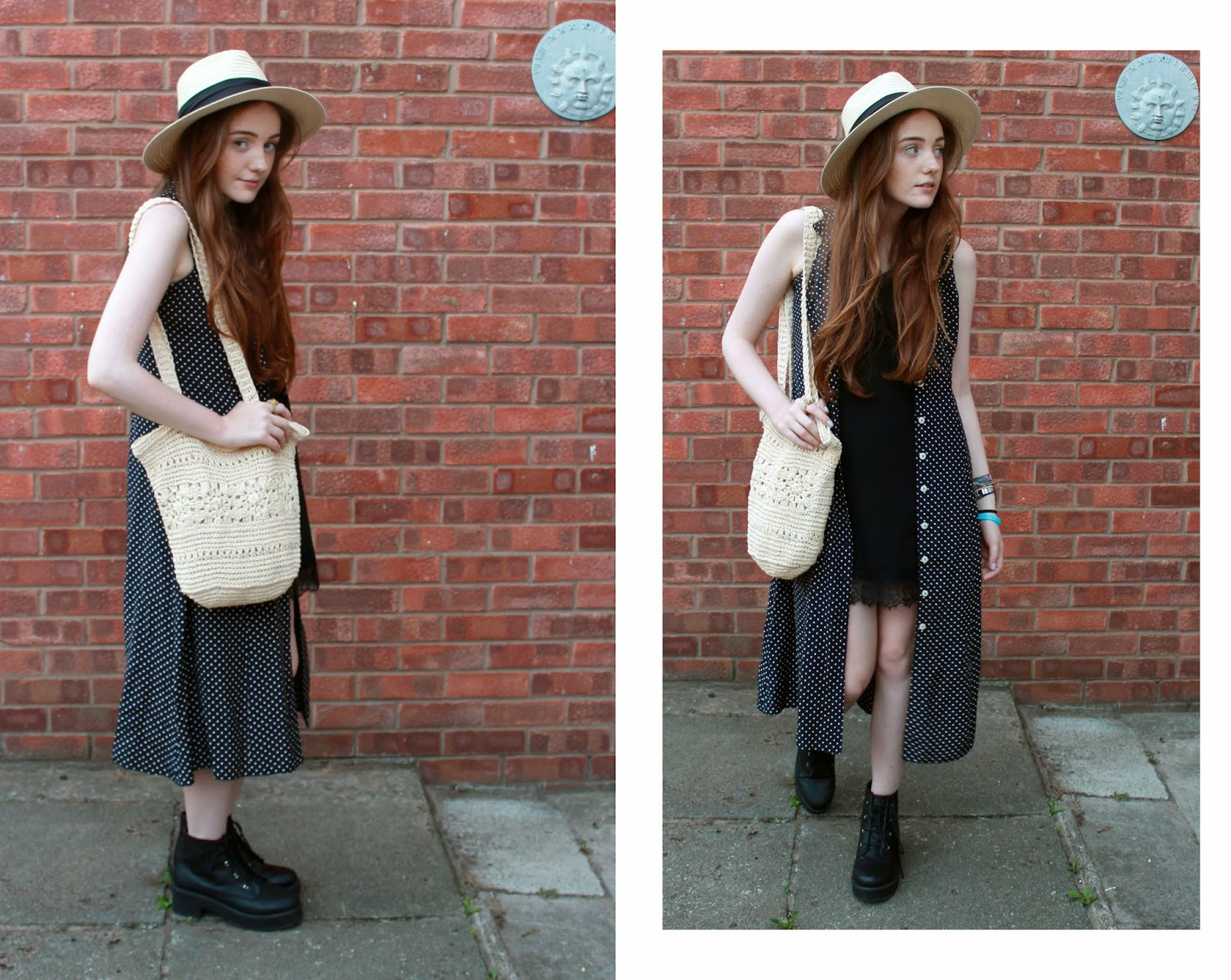 vintage polka dot dress worn unbuttoned over a slip dress as a shirt dress, worn with primark straw fedora and straw bag from charity shop plus asos revolution ankle boots