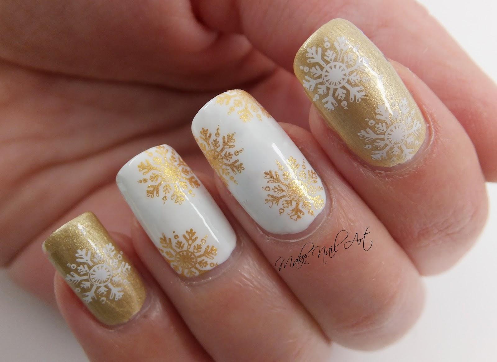 Make Nail Art White And Gold Stamping Snowflakes Nail Art Design