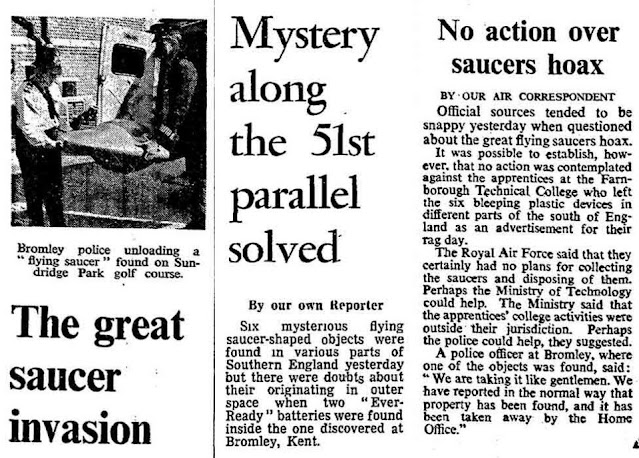 Newspaper article about the Flying Saucers recovered from the Isle of Sheppey in the UK.