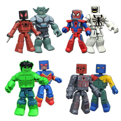 Walgreens Exclusive Marvel Animated Universe Minimates Series 4 - Deep Immersion Spider-Man with Anti-Venom, Scarlet Spider with Green Goblin, Speed Force Hulk with Speed Demon, & Iron Skull with Doctor Spectrum