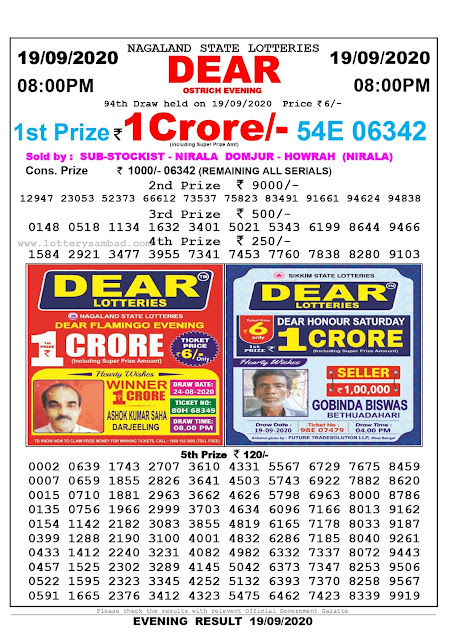 Lottery Sambad Result 19.09.2020 Dear Ostrich Evening 8:00 pm