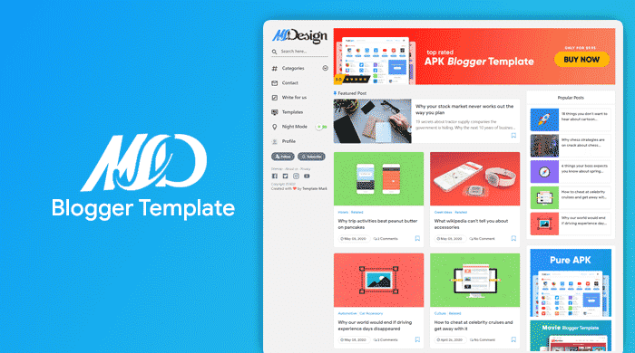 MSD Premium Responsive Grid Style Blogger Template