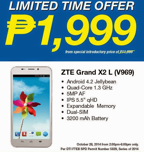 ZTE Grand X2 L V969, 5.5-inch Quad Core Phablet for Only Php1,999 this October 28