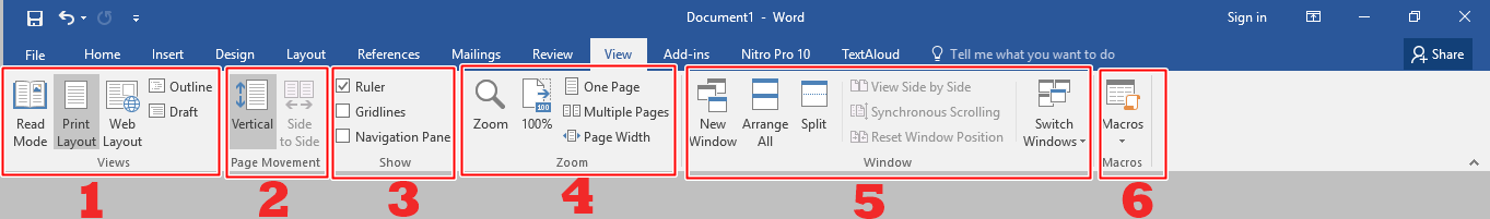 Menu bar View Microsoft Word 2016
