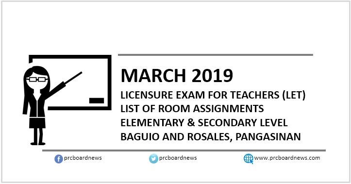 Room Assignments March 2019 LET in Baguio, Rosales