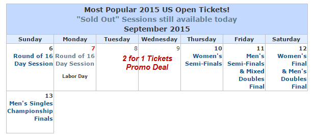 2015 US Open Calendar and Ticket Deals