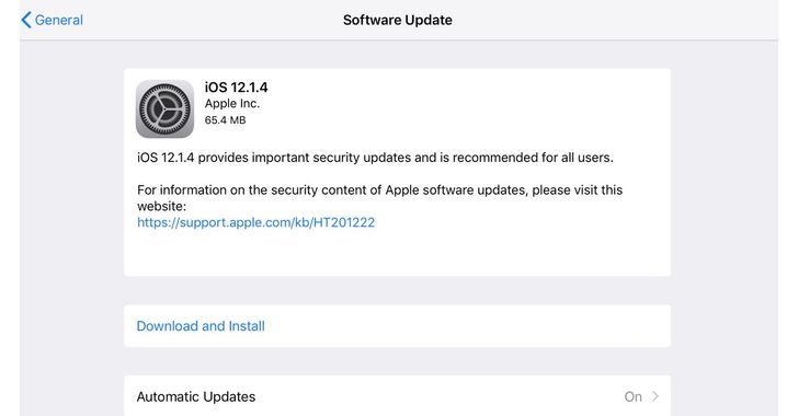 Latest iOS 12.1.4 Update Patches 2 Zero-Day and FaceTime Bugs