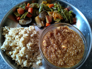 Tamil Pongal Style: Foxtail millet White pongal, Foxtail Millet Sweet pongal, Mixed greens curry