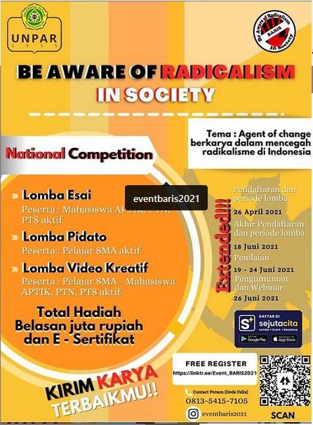 "Lomba Nasional Gratis ""Be Aware of Radicalism In Society"""