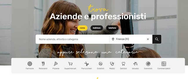 ricerca pagine gialle web