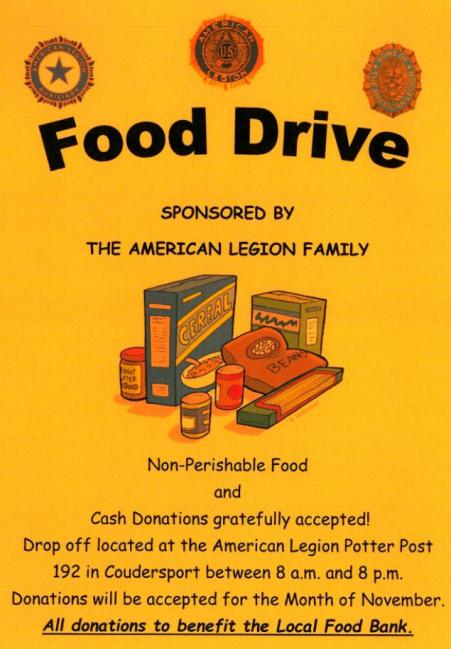 FOOD DRIVE, COUDERSPORT