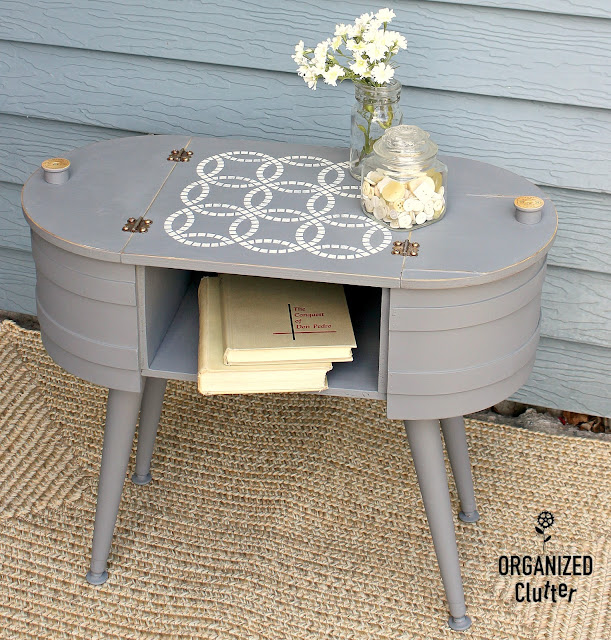 An Upcycled Mid Century Firkin Style Sewing Basket #upcycle #stencil #midcentury #firkin #dixiebelle #weddingringpattern #thriftshopmakeover
