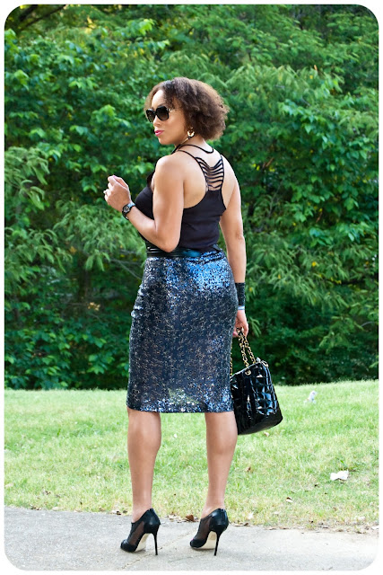 Vogue 8711 - Navy Sequin Draped Skirt - Erica B.'s DIY Style!
