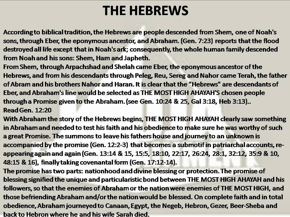 ALL STARTS WITH THE HEBREWS