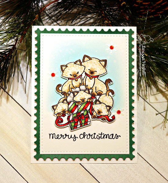 Kitty Family Christmas Card by Larissa Heskett | Newton's Christmas Kittens Stamp Set by Newton's Nook Designs #newtonsnook #handmade