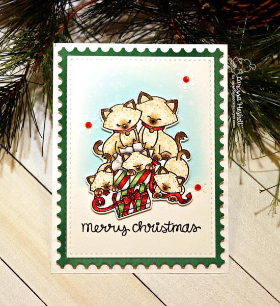 Kitty Family Christmas Card by Larissa Heskett | Newton's Christmas Kittens Stamp Set by Newton's Nook Designs #newtonsnook #handmade