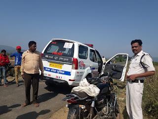 अज्ञात वाहन की टक्कर से वाहन चालक घायल