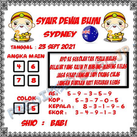 Syair Dewa Bumi Sidney Hari Ini 23-09-2021
