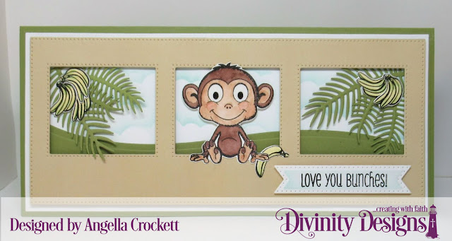 Divinity Designs LLC: Thanks a Bunch Stamp/Die Duos, Beautiful Blooms Slimline Sized Paper Collection; Dies: Slimline Card Base, Slimline Rectangles, Slimline Pierced Window, Slimline Curvy Slopes, Treat Tags, Ferns, Clouds and Raindrops; Card Designer Angie Crockett