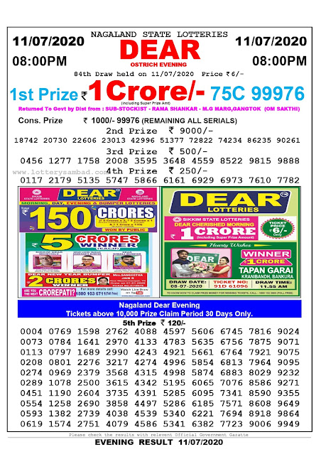 Nagaland State Lottery Sambad 11-07-2020 Today Result 8 PM