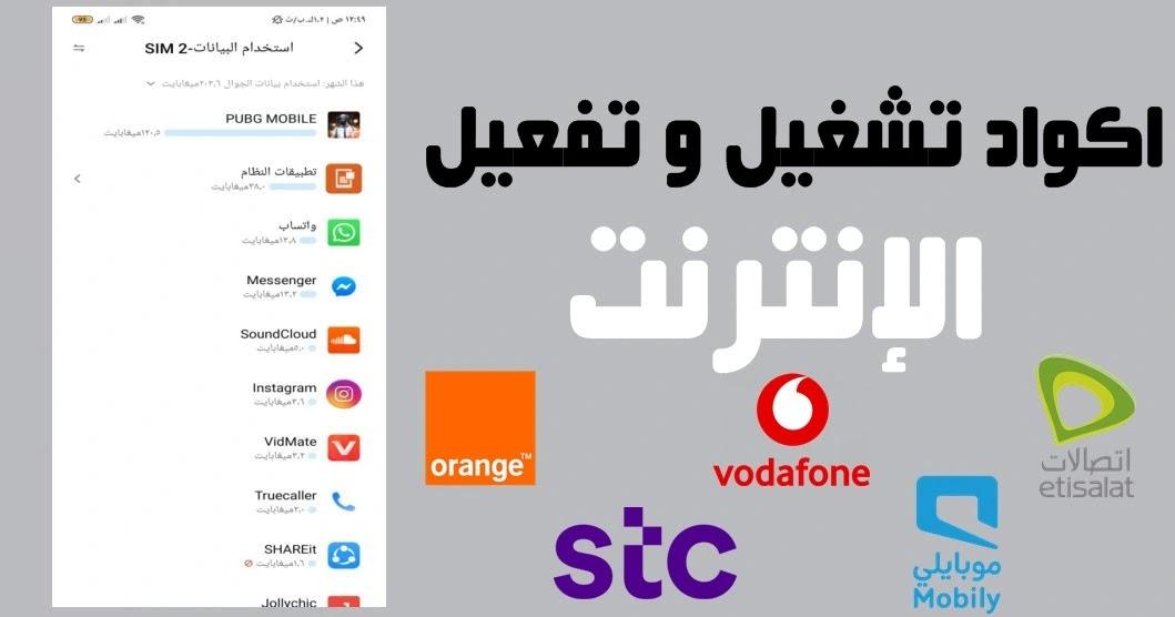 اكواد تشغيل و تفعيل الإنترنت لشبكات محمول مصر اتصالات، فودافون، المصريه للاتصالات،اورنج