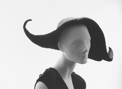 Elaborate hat designed by Christian Dior 1947-1949 displayed on mannequin head