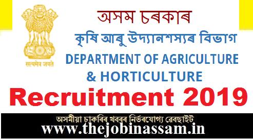 Department of Agriculture, Govt. of Assam Recruitment 2019
