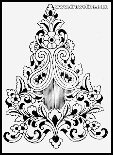 Black and white Paisley style embroidery designs motifs pencil sketch on paper. How to draw embroidery flowers design on paper.
