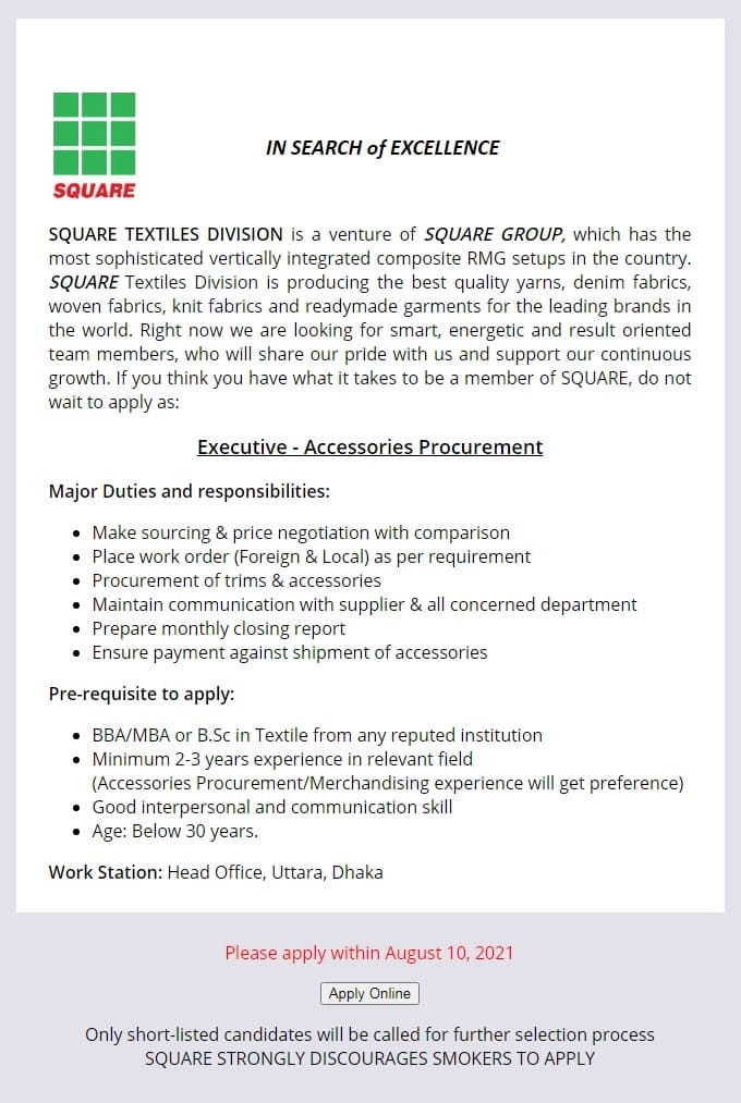 Square Group Job Circular 2021 image
