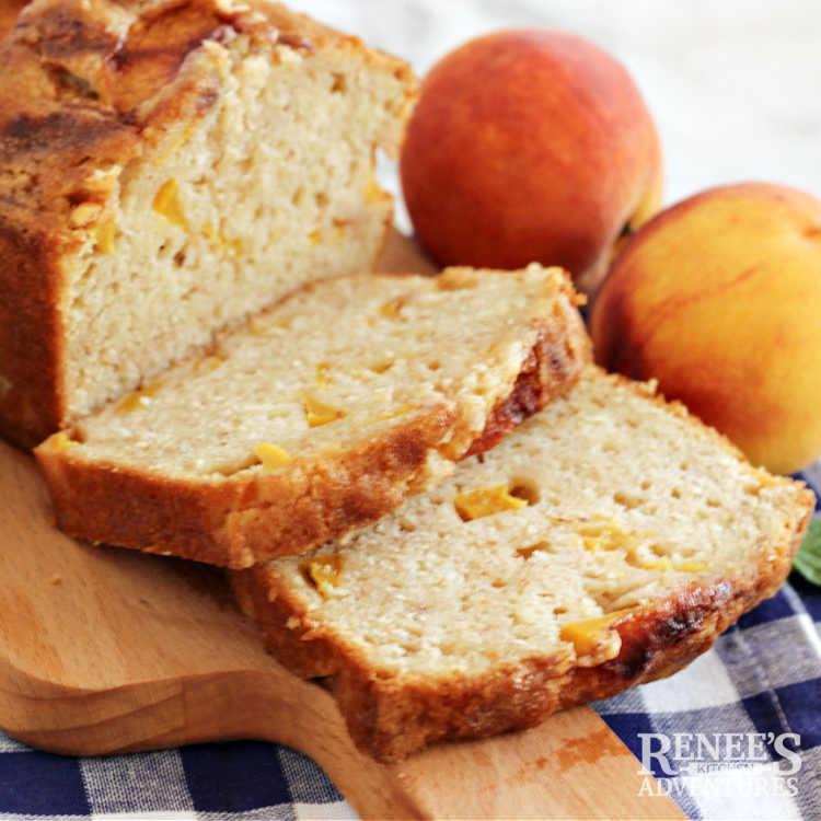 Peach Bread on board sliced