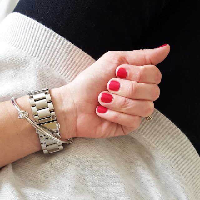 Banana Republic Sweater (sold out - similar) // 7 For All Mankind Jeans - 50% off! // Michael Kors Runway Watch // ILY Couture Knot Bracelet // Essie Polish in Watermelon (I did my nails myself and this photo was after 4 days of wear!!! THE BEST POLISH!)