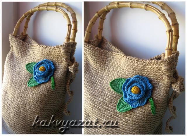 Оригинальный цветок-украшение для летней сумки.