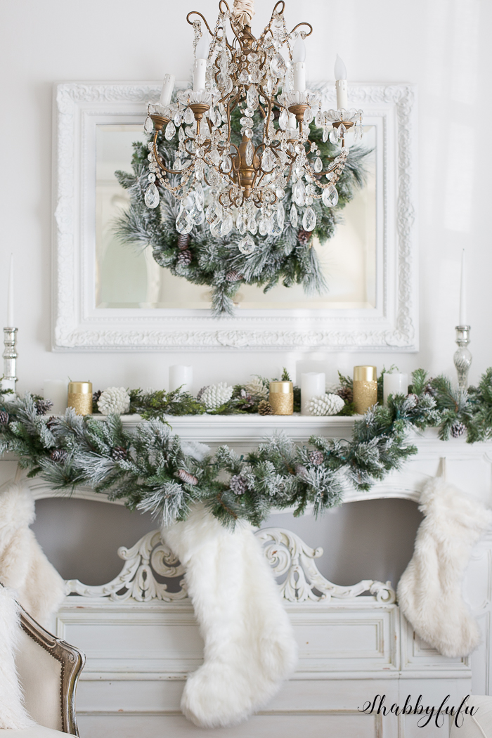 white gold metallic christmas mantel decorating