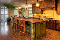 Modern country kitchen island design ideas with wooden countertop and wooden stools