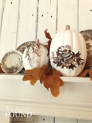 faux pumpkins handpainted with toile flowers & leaves inspired by English Staffordshire toile china pattern