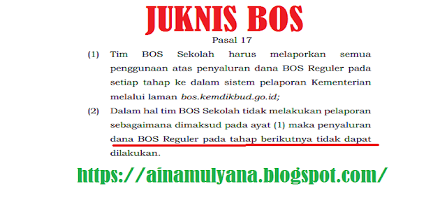 Sekolah yang tidak Melaporkan Pengunaan Dana BOS Reguler dI bos.kemdikbud.go.id. terancam tidak menerima BOS Tahap Berikutnya