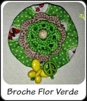 Broche flor verde