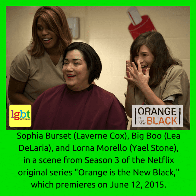"Laverne Cox, Lea DeLaria, and Yael Stone, in a scene from Season 3 of ""Orange Is The New Black"""
