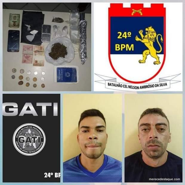 Dois elementos são detidos por tráfico de drogas em Santa Cruz do Capibaribe