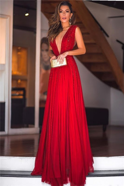 Sexy Deep V-Neck Beading Evening Dresses | Sleeveless Chiffon Long Prom Dresses
