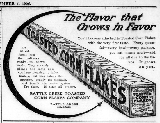 Sanitas Toasted Corn Flakes, advertising Sept. 1, 1906