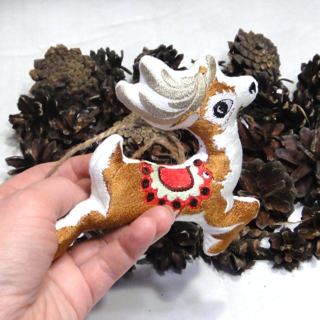 Небьющиеся елочные игрушки Олень ручной работы. Авторская елочная игрушка на новый год