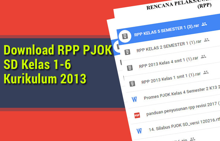 Download RPP PJOK SD Kelas 1-6 Kurikulum 2013