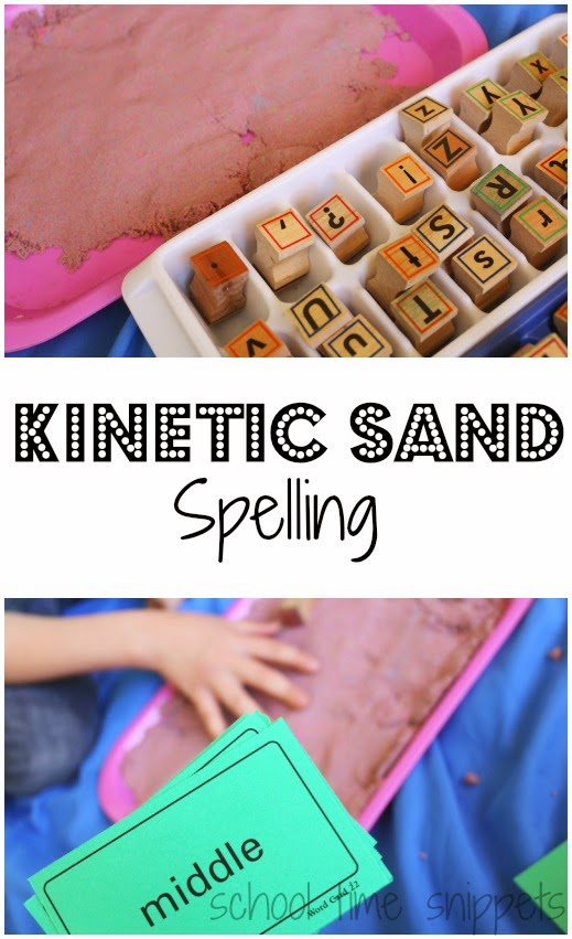 Hands-on spelling activity with kinetic sand