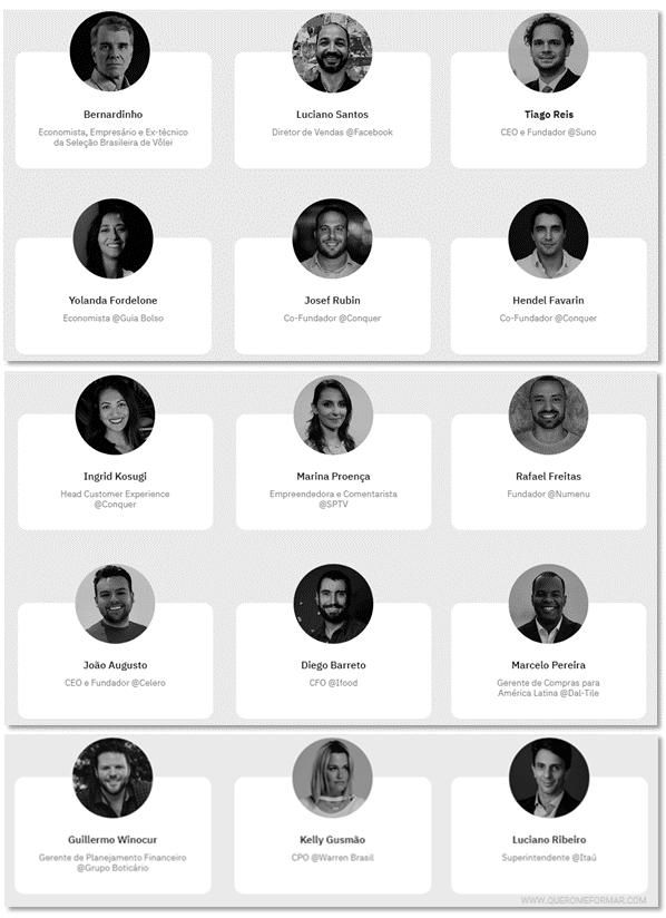 Quadro de professores Curso Online de Finanças Pessoais GRATUITO Com Certificado de Conclusão pela Escola Conquer