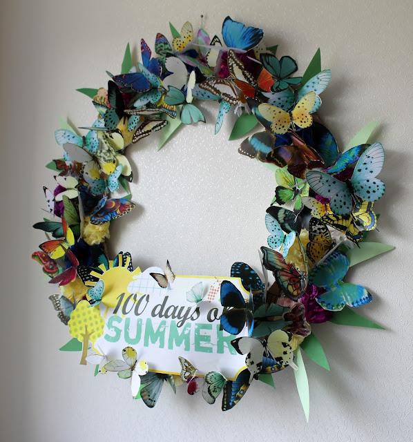 летний венок, с бабочками